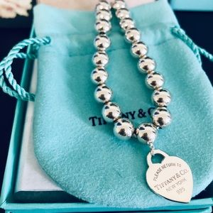 Tiffany & Co 8mm Bead Bracelet W/ heart tag